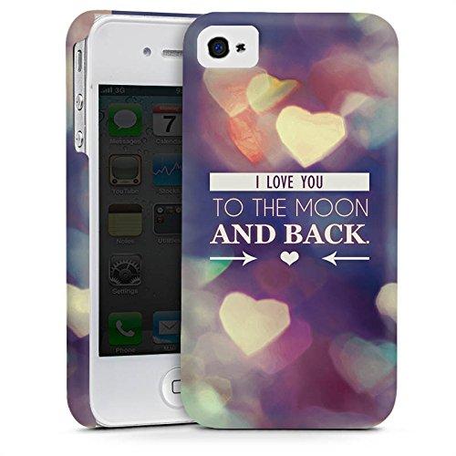 Apple iPhone 4 Housse Étui Silicone Coque Protection Saint-Valentin Je t'aime fete Cas Premium mat