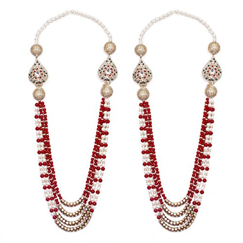Anks Handicrafted Multi-Color Pearls & Stones Metal Varmala Jaimala for Unisex (Set of 2) VM-004