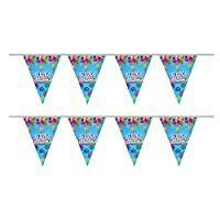 My Planet Premium Quality 24 x Boys Blue Happy Birthday Card Pennant Flag Bunting Indoor/Outdoor Party Decoration Huge 10m Banner