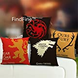 Findfine® différents motifs Taie d'oreiller d'oreiller Couvre-lit Taie d'oreiller d'oreiller de la maison Taie d'oreiller, Coton/lin, ZT19-Game of Thrones Vintage-4pcs
