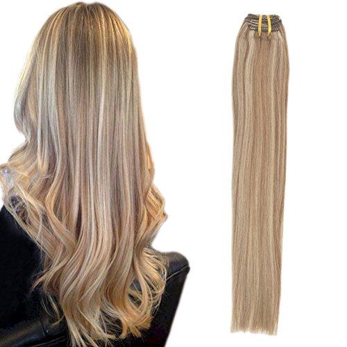Komfami Remy Haarverlängerung Clip in Haarverlängerung Echthaar Echtes Haar 100 Gramm 45cm No.12/613 Goldbraun/Gebleichtes Blond Highlight