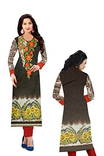 Belleza's Designer Collection Bhagalpuri Silk Embroidery Work with mirror Grey & Green Kurti.  available at amazon for Rs.545