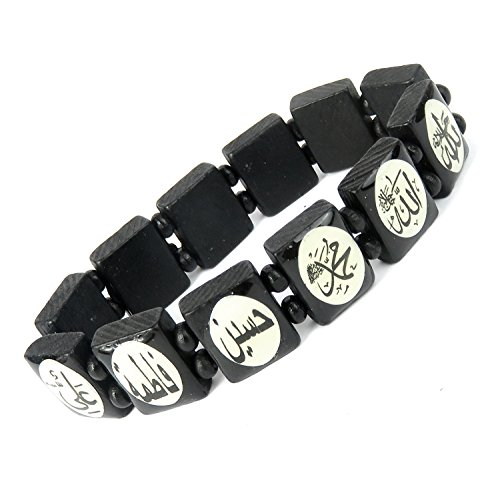 Lovely Lauri Unisex Holz Armband Damen Herren Motive Gummizug Arabische Schrift Black