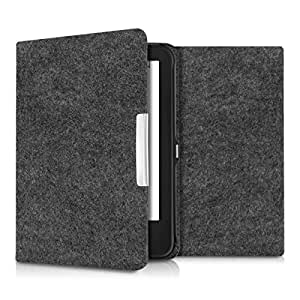 kwmobile custodia per Tolino Shine 2 HD - cover protettiva per eReader - protezione a libro per e-book reader grigio scuro Design Feltro