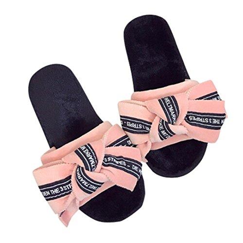Longra Pantofole casuali delle signore piane del legame dellarco Rosa