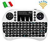 Rii Mini i8+ Wireless (Layout Italiano) - Mini Tastiera retroilluminata con Mouse touchpad per Smart TV, Mini PC, HTPC, Console, Computer - Colore Bianco