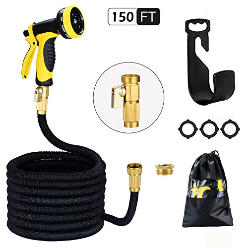 HmiL-U Garden Hose 150ft 45m Strongest Double Latex Inner Tube Prevent Leaking Magic Hosepipe with 9 Function Spray Gun+Solid Brass Fittings (Retracted Length 50ft)?2 YEARS 100% Guaranteed?(150ft)