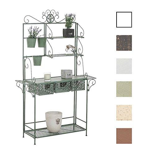 CLP XL-Pflanzenregal Shine I Blumenregal mit 4 Ablageflächen und extra Halterungen für Blumentöpfe I erhältlich Antik Grün