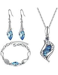 7ce305c6d847 MONDAYNOON Conjunto de Joyas Mujer Collar Colgante Pulsera Pendientes  Cristales Mejor ♥ Regalo San Valentin ♥