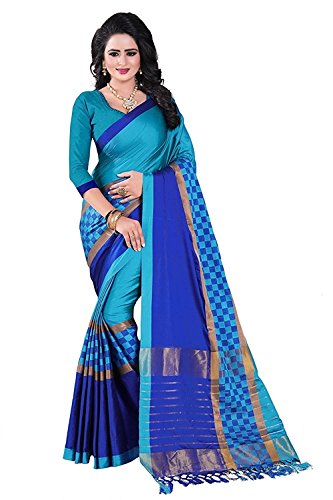 FabDiamond Cotton Saree With Blouse Piece (D-FWS1643-_Blue_Free Size)
