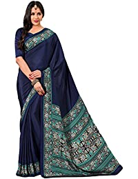 Salwar Studio Women's Blue & Green Italian Creape Floral Printed Saree With Blouse Piece