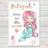 Mermaid Dream Big Personalised Watercolour Print/Kids Room Decor, Frame Options