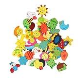 Wlm - Calamite per frigorifero in legno colorato per bambini, confezione da 48 pezzi