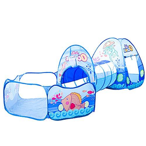 SHARESUN Kinder Tunnelzelt, Marine Ball Pool & Shooting Frame Design Baby Krabbeln DREI-in-Eins-Zelt, Kinderspielhaus, für drinnen und draußen, Blau