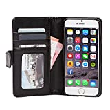 Adento iPhone 6 caso, piel sintética, negro, for iPhone 6 (Wallet Case)