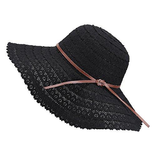 Damen Faltbarer Sonnenhut UPF Flexible Sommer Strand Strohhut mit Sonnenschutz breite Krempe Damen Mode Hut aus Baumwolle, Schwarz, Einheitsgröße - Mode-hut