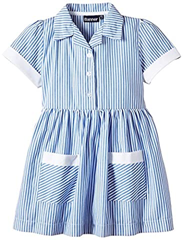 Blue Max Banner Girls Kinsale Striped Short Sleeve Dress, Blue, Size 8 (Manufacturer Size:7/8)