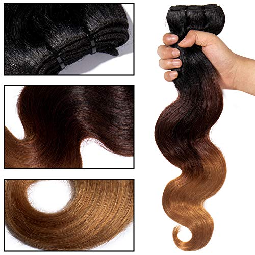 Tissage Bresilien Meches Bresiliennes Extension Cheveux Naturel Ondulé Dégradé #1B Noir Naturel + #33 Auburn + #27 Blond foncé - Grade 7A Brazilian 100% Human Hair Body Wave - 16\