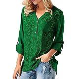 YwoolyJn Damen Chiffon Blusen Elegant Einfarbig V Neck Blumen Shirt mit Spitze