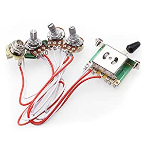 electric guitar wiring harness kits for strat style guitar replacement 2t1v control knobs 5 way. Black Bedroom Furniture Sets. Home Design Ideas