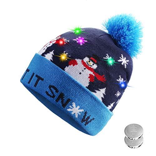 Tagvo LED leuchten Hut Mütze Stricken, 6 Bunte LED Xmas Weihnachten Hut Mütze, Winter Schnee Hut Pullover hässliche Urlaub Hut Beanie Cap (Produkte Beliebteste)