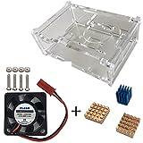 Haiworld Raspberry Pi Protection Crystal Boîte de + Ventilateur de refroidissement + 3pcs Cuivre & En aluminium Dissipateurs de chaleur pour Raspberry Pi 3 2 Model B B+
