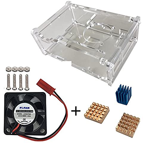 Haiworld Raspberry PI Crystal Clear gehäuse + Cooling Fan + 3pcs Copper & Aluminum Heatsinks For PI 3 2 Model B B+
