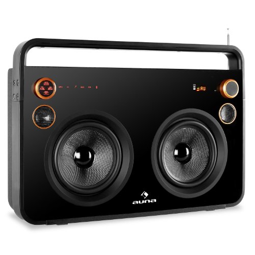 Auna Rocksteady Design Boombox Bluetooth Ghettoblaster mit Akku (USB-SD-Slot, Fernbedienung, UKW-Radio, AUX, 2x Klinke Mikrofon IN) schwarz