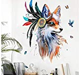 Estilo europeo Pintado A Mano Cabeza de Lobo Pegatinas de Pared Coloridas Plumas Mariposas Pájaros Mural Cartel de la Decoración Del Hogar Pared Gráfico