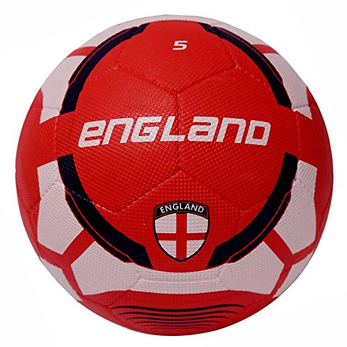 Vector X England Rubber Moulded Football, Size 5  White/Red