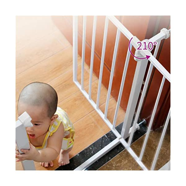 GFYWZ Pet Safety Gate for Baby Dog Cat or Other Pets for extra-wide openings, with no threshold and one-hand operation,75~86cm GFYWZ ◆ Measure your opening before purchasing: This gate fits openings 65 to 74cm/75 to 84cm. It will not fit any opening smaller than 65cm. If your opening is larger than 84cm you will require an additional purchase of an extension. ◆ One handed operation - the one handed operation is fantastic for times when you're holding your child and the double locking feature ensures extra security to help keep your child safer. ◆ To be installed on the wall or door, Functional, lightweight and portable,Convenient walk-through design 6