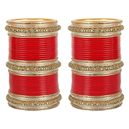 MUCH MORE Goeroes Red Bridal Chura for women's
