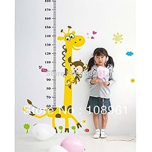 Règle Mesure Enfant Girafe Hauteur Toise Sticker mural décoratif pour chambre d'enfant