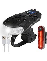 AMANKA Luces Bicicleta USB Super Brillante Impermeable LED Bicicleta Set de Luces Bici 400 Lúmenes Sensor Inteligente para Bici Linternas LED Ciclismo Seguridad