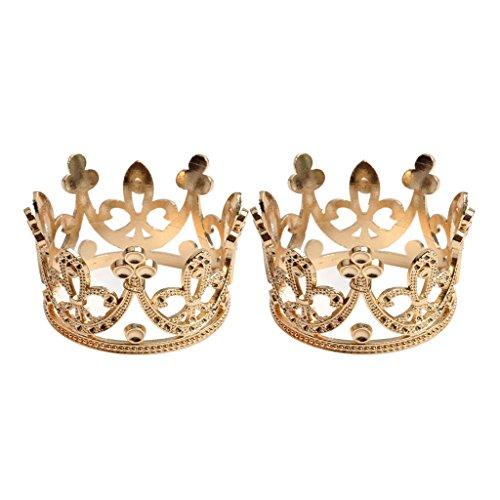 Fenteer Braut Krone, König Tiara, Hochzeit Diadem, Hochzeit Haarschmuck golden (König & Queen Kostüm)