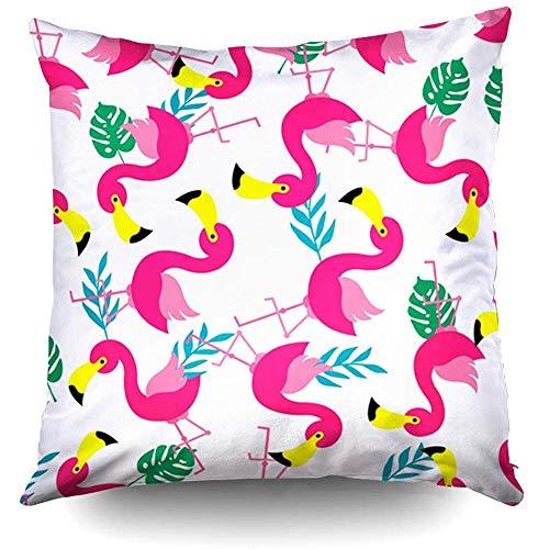 Ducan Lincoln Pillow Case 2PC 18X18,König Kissenbezüge,Throw Square Kissenbezug,Baumwolle Kissenbezüge Nahtlose Flamingo Muster Beidseitig Unsichtbaren Reißverschluss Kissenbezug Drucken -