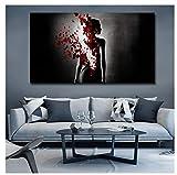 Cqzk Farfalla Nuda Donna Stampe su Tela Poster Decorazioni per la casa Astratte Quadri su Tela Immagine per pareti Decorazioni per Camera da Letto 60x80 cm Senza Cornice