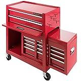 Arebos Werkstattwagen 9 Fächer rot (✓ zentral abschließbar, ✓ Abnehmbarer Werkzeugkasten, ✓ Massives Metall)