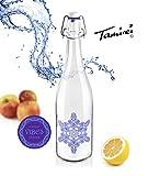 Tamirei-Design Trinkflasche Wasserflasche Glas mit Design Eiskristall Emoto Glasflasche BPA-frei, 0,75 Liter