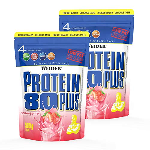 WEIDER Protein 80 Plus Eiweißpulver, 2 Pack, Erdbeer, Low-Carb, Mehrkomponenten Casein Whey Mix für Proteinshakes, 2x500g