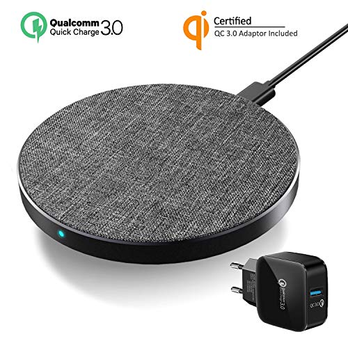 Wefunix Cargador Inalámbrico Rápido, Qi Quick Charge 3.0 Wireless Charger USB C 7.5W para iPhone XS MAX XR X 8 8 Plus Mix 2S, Base de Carga Inalámbrica 10W para Samsung Galaxy S10 S9 S8 Note 9/8-MC30