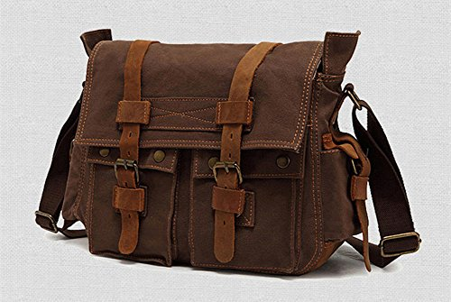 Sechunk Vintage Military Laptop Canvas Sacs en cuir Sac ordinateur Sac à bandoulière Messenger Bag Cross corps Sac Cartable livre sac de travail Sac de sport Sac d'école coffect