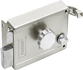 Steelman Brass and steel Rim latch lock for inside opening door (Kitchen and Home) with regular Door keys metallic silver color