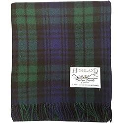 Manta de Tartan Tweeds, de lana tartán, alfombra para viajes y picnics, Reloj Negro, talla única