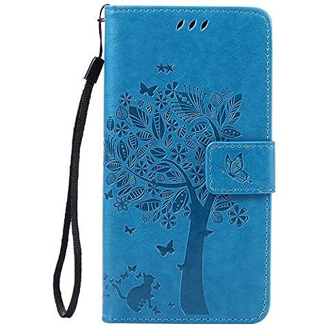 Sony Xperia Z4 Premium Leather,Coque Pour Sony Xperia Z4,Cozy Hut [Détachable Fonction] PU Cuir Portefeuille debout Housse Coque Étui Couverture pour Sony Xperia Z4,Motif de chat et arbre - bleu