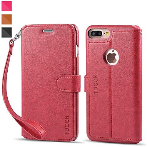 Cover-iPhone-7-Plus-TUCCH-Custodia-di-Cuoio-Flip-Stand-Slot-per-Scheda-e-Protettiva-Flip-Integrati-Portafoglio-Case-con-Magnetico-Snap-per-iPhone-7-Plus-Rosso
