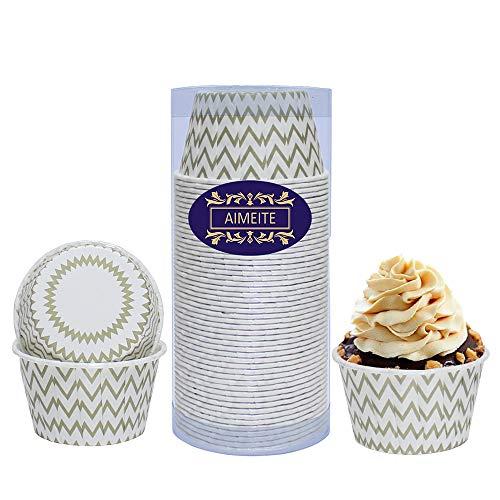 AIMEITE Cupcake Formen Papier Backförmchen Muffin Förmchen Papier Cupcake Backförmchen Muffins Papierförmchen Cupcake Liners Cupcake Wrappers 50 St (Gold)