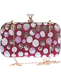 Aliado Faux Leather Magenta & White Magnetic Snap Sequined Clutch For Women