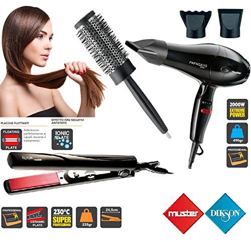 Kit parrucchiere professionale piastra phon spazzola