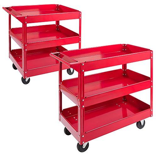 Arebos Werkstatt-Rollwagen / Große Belastbarkeit bis 100 kg / 2 oder 3 Fächer / Einzeln oder als...